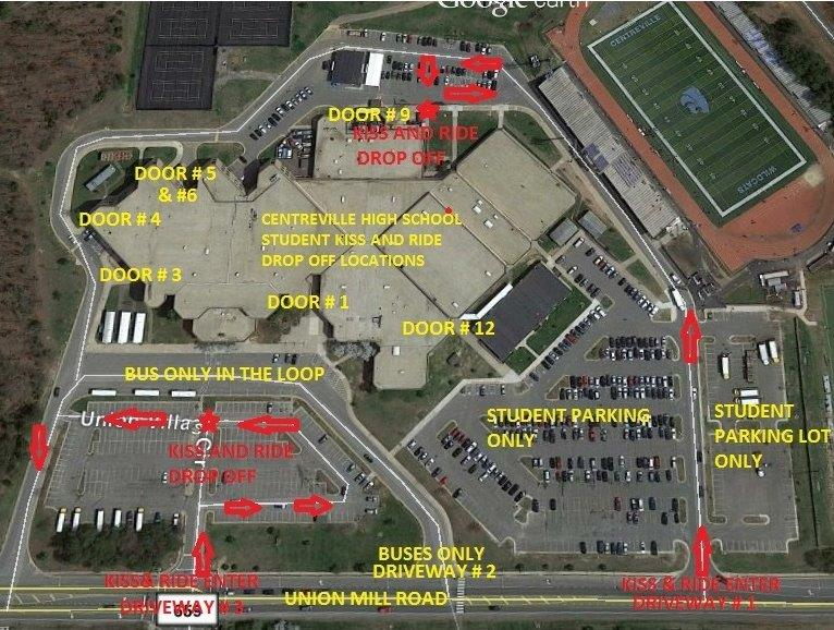 google earth image of CVHS parking lot and traffic pattern